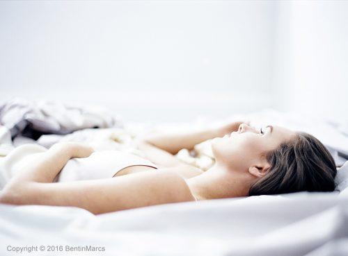 Image of model wearing silk satin dress