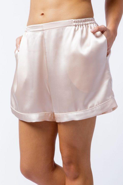 Image of silk satin Sophia shorts